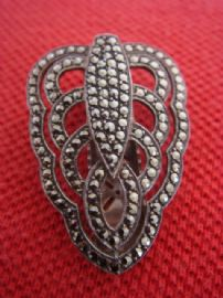 1930s - 1940s Silver Marcasite Dress Clip Art Deco Stylised Leaf (sold)